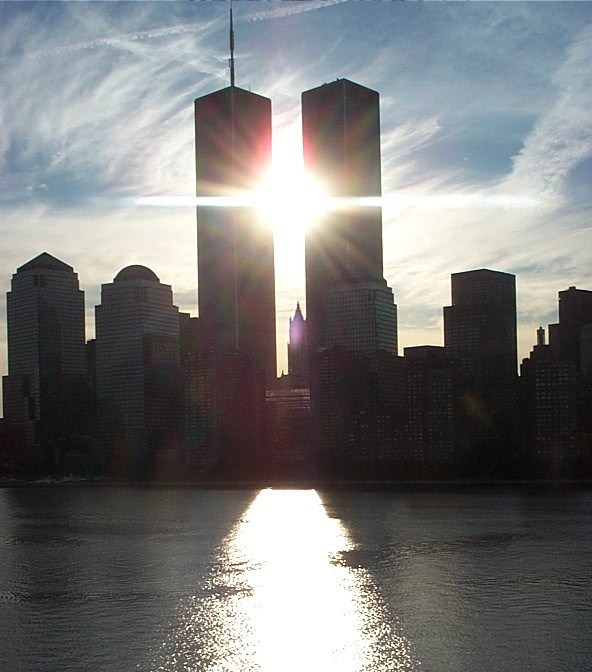 twin towers with sunlight