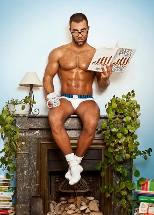 sexyman reading book2 coffee