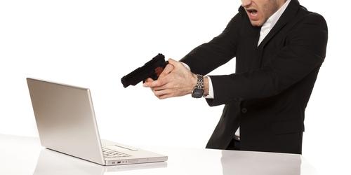 computer and gun