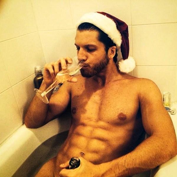 sexy santa drinking